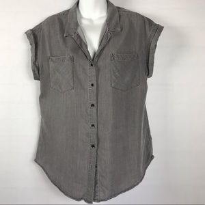 Jachs Girlfriend Grey Tencel Button Down Shirt